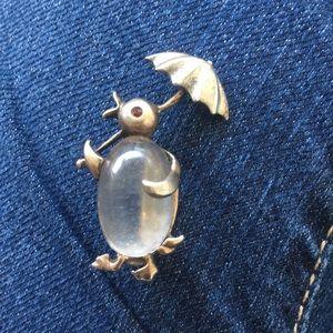 1950s Jelly belly sterling silver brooch